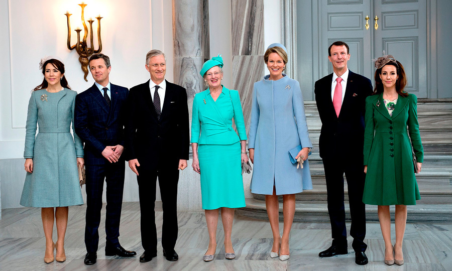 The Danish royal family — Crown Princess Mary, Crown Prince Frederik, Queen Margrethe, Prince Joachim and Princess Marie — welcomed King Philippe and Queen Mathilde of Belgium to Amalienborg Castle in Copenhagen as the Belgian royals began their two-day visit to Denmark.