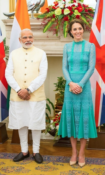 The Duchess elected for a teal lace dress by Temperley to meet the Prime Minister of India, Narendra Modi Samir, in 2016.