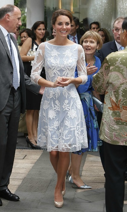 Kate stepped out in a blue dress with a floral lace overlay for a Diamond Jubilee tea party during her 2012 tour of Asia.
