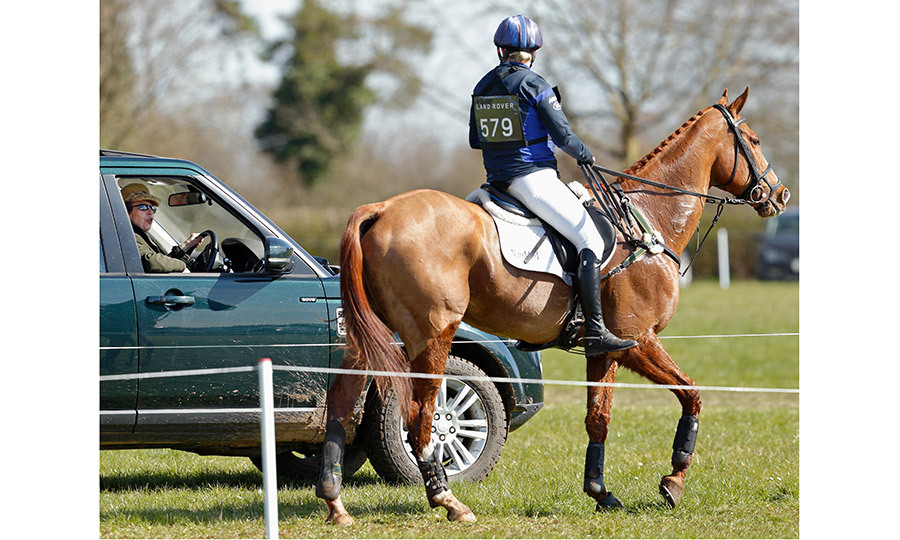 Princess Anne pulled up alongside her daughter Zara Tindall to chat after the young royal completed the cross country phase of the Gatcombe Horse Trials at Gatcombe Park on March 26 in Stroud, England. 