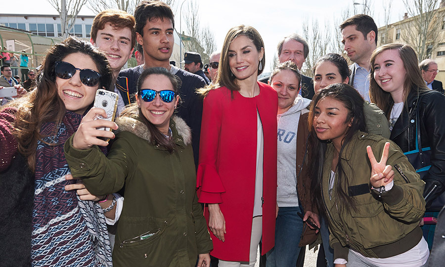 Peace! Queen Letizia of Spain stopped for some selfies in Soria on March 30. 