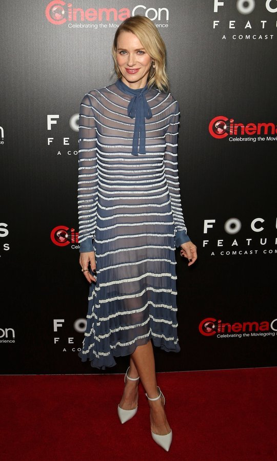 March 29: Naomi Watts showed her stripes at the Focus Features luncheon and studio program at CinemaCon at The Colosseum at Caesars Palace in Las Vegas.