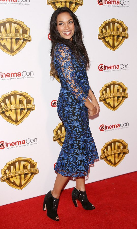 March 29: Rosario Dawson donned floral lace for the CinemaCon 2017 Warner Bros. Pictures presentation held at The Colosseum at Caesars Palace in Las Vegas. 