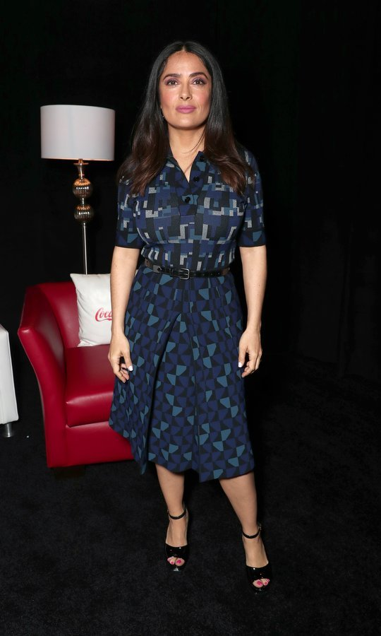 March 30: Salma Hayek's print skirt was a hit at the Lionsgate Sneak Peek and Special Screening of 'The Hitman's Bodyguard' at The Colosseum at Caesars Palace during CinemaCon in Las Vegas.