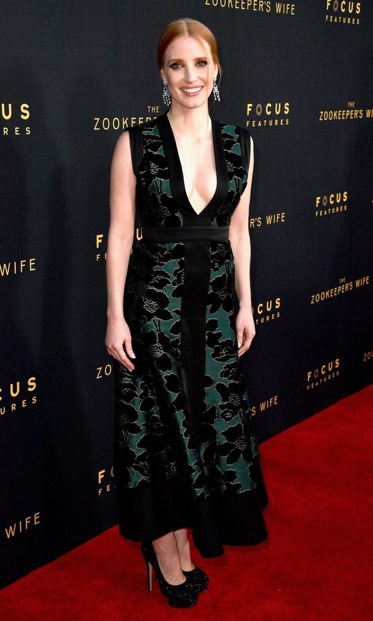 March 27: Jessica Chastain was elegant in a velvet midi at the premiere of 'The Zookeeper's Wife' at ArcLight Hollywood.