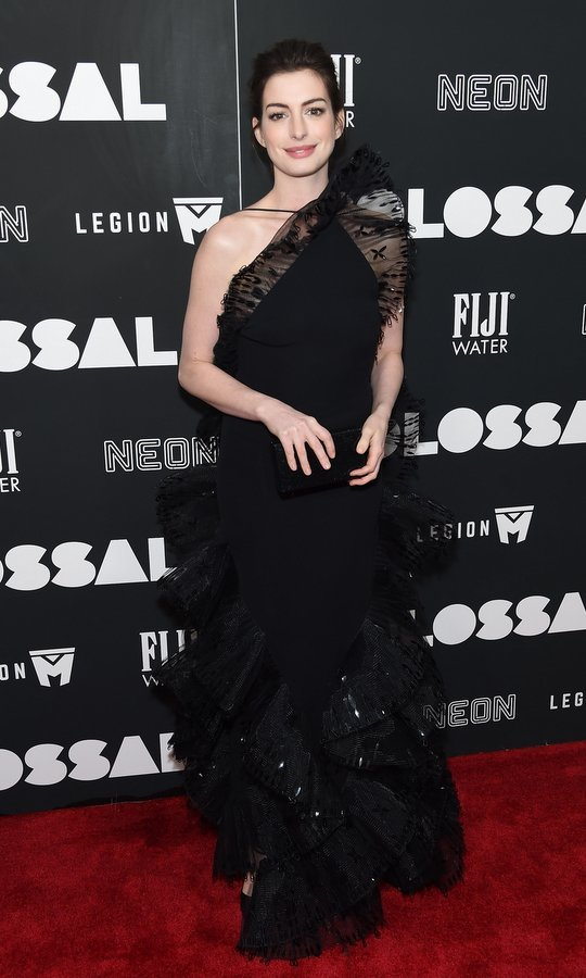 March 28: Anne Hathaway made a grand entrance at the 'Colossal' premiere in a black lace gown at AMC Lincoln Square Theater in New York City. 