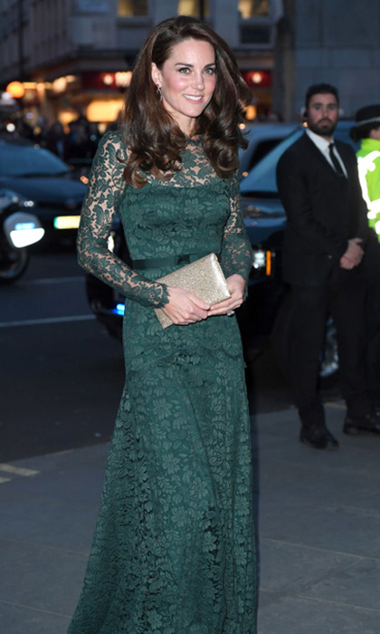 Kate Middleton looked lovely in lace for her evening at the National Portrait Gallery's 2017 gala wearing a hunter green Temperley London gown.