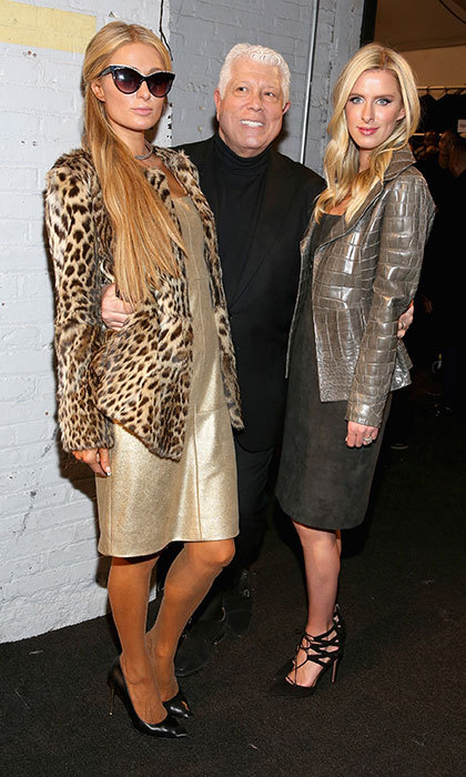 In February 2017, three was company backstage at New York Fashion Week, where Nicky mingled with her sister Paris Hilton and designer Dennis Basso in a crock motif jacket. 