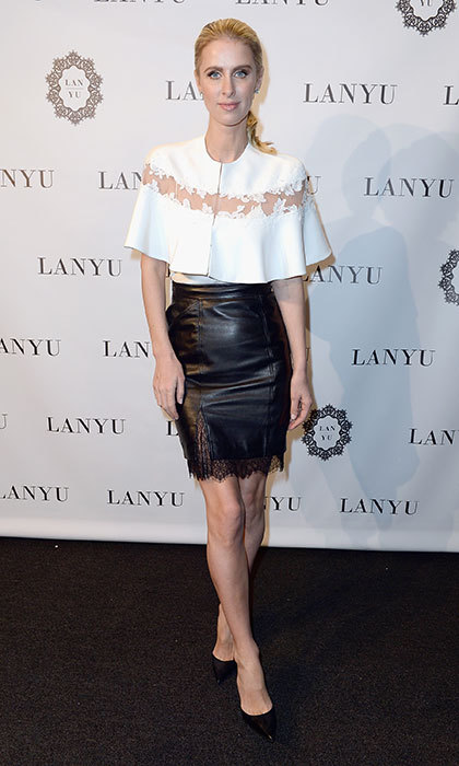 A lace and leather mini was the skirt of choice at the Lanyu show during New York Fashion Week in February 2017.