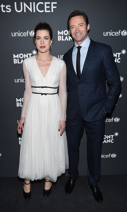 Charlotte Casiraghi mingled with Hollywood star Hugh Jackman at the Montblanc & UNICEF Gala Dinner held at the New York Public Library in Manhattan.
