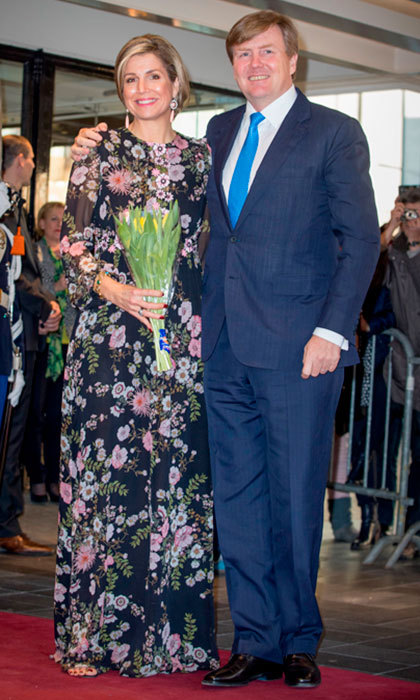 King Willem-Alexander and Queen Maxima of the Netherlands beamed as they arrived to the Theater Tilburg for the Kingsday concert on April 4.