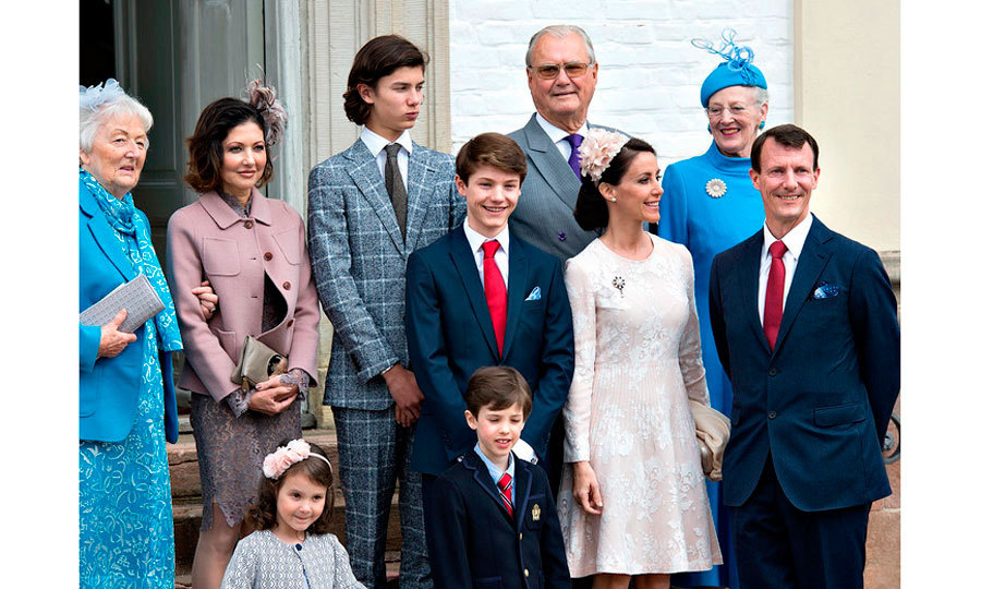 A royal family affair! Apart from his parents and siblings, Felix had the support of his paternal grandparents, Queen Margrethe (top right) and Prince Consort Henrik at his confirmation.