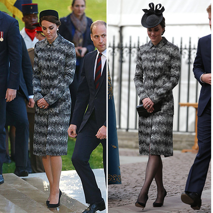On April 5, 2017 the Duchess looked sophisticated in Missoni at a Service of Hope at London's Westminster Abbey, right. Kate rewore the label's Long Snake Stitch Coat, which she first donned with a pillbox hat and nude hose at the Somme Centenary commemorations in June 2016.