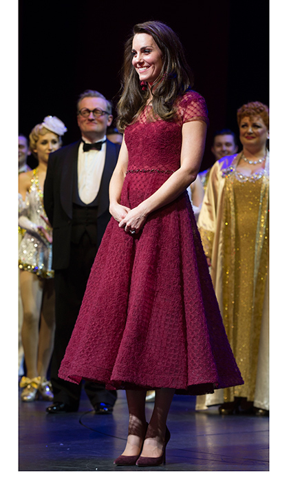 April 4: The <b>Duchess of Cambridge</b> stepped out for the Opening Night Royal Gala performance of '42nd Street' in London wearing a gorgeous tea length dress by Marchesa.