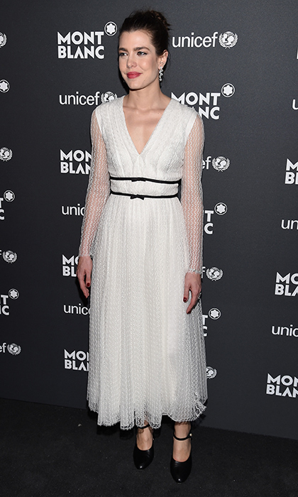 April 3: Monaco royal <b>Charlotte Casiraghi</b> was chic in Giambattista Valli at the Montblanc & UNICEF Gala Dinner in New York.