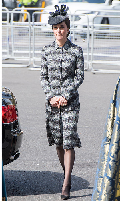 April 5: <b>Kate Middleton</b> attended the Service of Hope at Westminster Abbey in London wearing an all grey Missoni coat that she donned for the first time in 2016. 