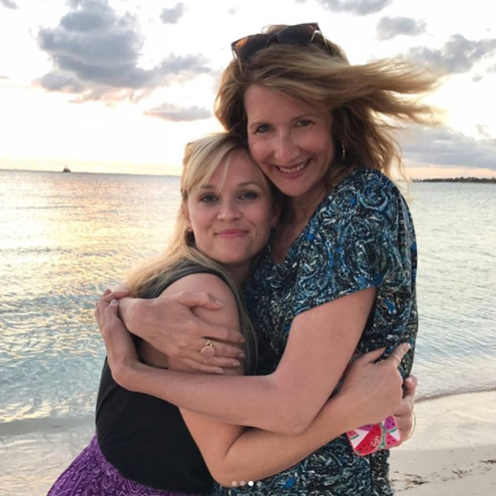 Reese Witherspoon and Laura Dern's characters in <i>Big Little Lies</i> may have had a testy relationship, but in real life the two couldn't be closer. The actresses and their families jetted to the Bahamas for some R&R. 