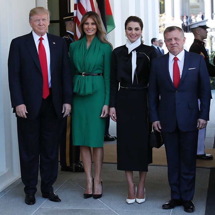 Melania looked gorgeous in green to welcome Queen Raina and King Abdullah II of Jordan to the White House in April 2017. The stylish first lady wore a belted draped dress for her first meeting with a royal figure since her husband's inauguration. President Trump's wife completed her polished look with black pumps and her signature blowout.