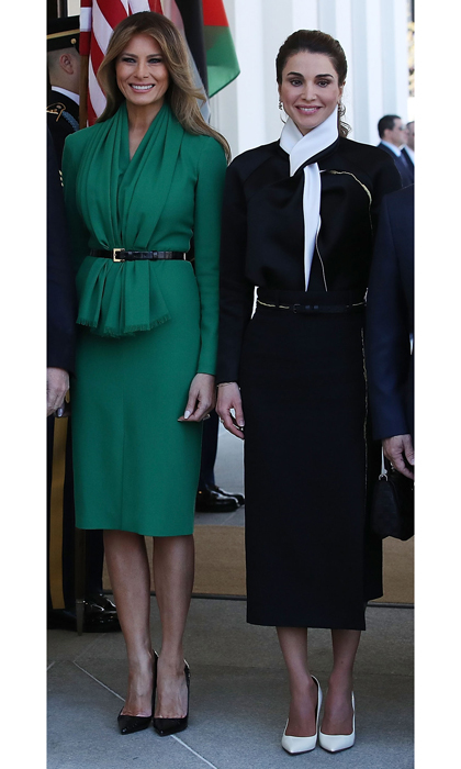April 5: <b>Queen Rania of Jordan</b> and First Lady Melania Trump looked coordinated in belted dresses and pointy pumps when they met at the White House.