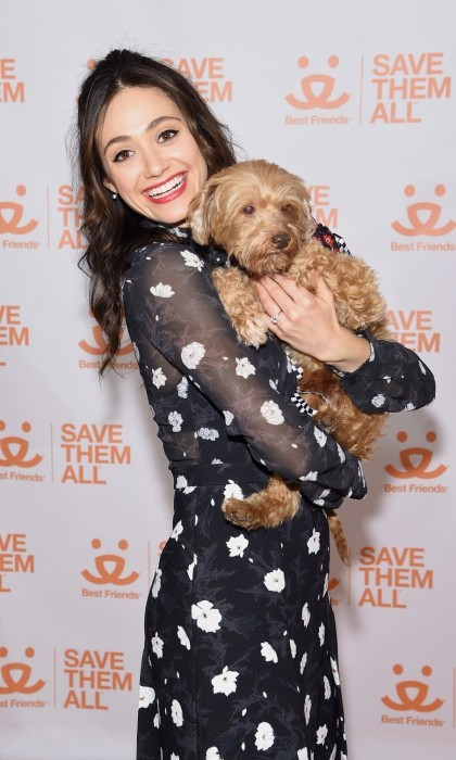 April 3: Cuddles! Emmy Rossum scooped up a fluffy pal at the 2017 Best Friends Benefit To Save Them All in New York City. The 30-year-old <i>Shameless</i> star teamed up with the Best Friends Animal Society to help put an end to kill shelters.