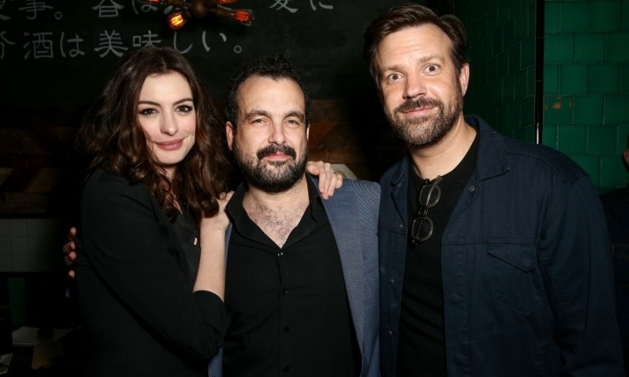 April 4: After party! Anne Hathaway and Jason Sudeikis posed with their <i>Colossal</i> director Nacho Vigalondo after the premiere of the film. The party was held at Umami Burger L.A. 