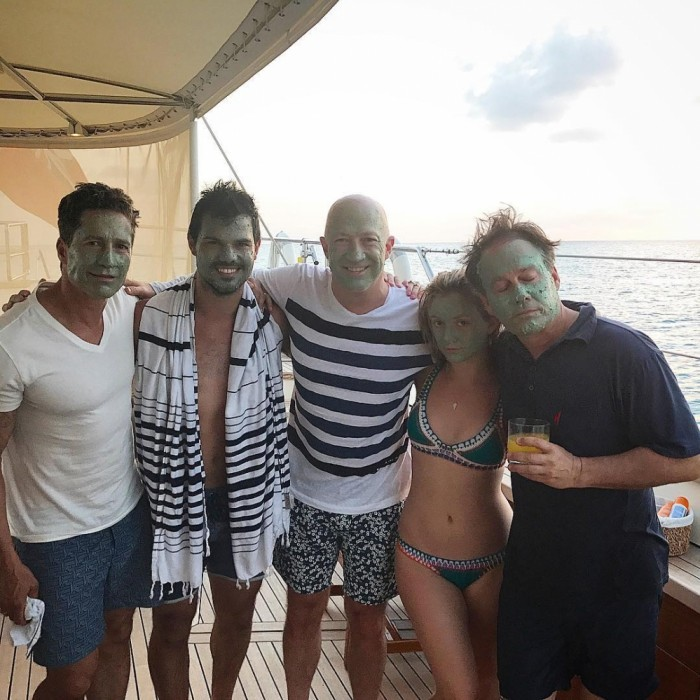 "April 3: Fun in the sun! Billie Lourd and Taylor Lautner joined Billie's dad Bryan and his husband Bruce Bozzi for a yachting trip. Bruce took to his Instagram to share a shot from the vacation, writing: ""The family that masks together lasts together!""