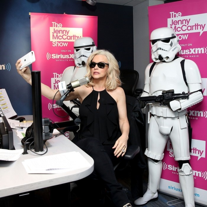 April 4: 'Sirius' trouble! Jenny McCarthy's SiriusXM show was invaded by Stormtroopers for the Blu-Ray release of <i>Rouge One</i>. The host of <i>The Jenny McCarthy Show</i> couldn't help but take a selfie at the SiriusXM Studios in New York City. 