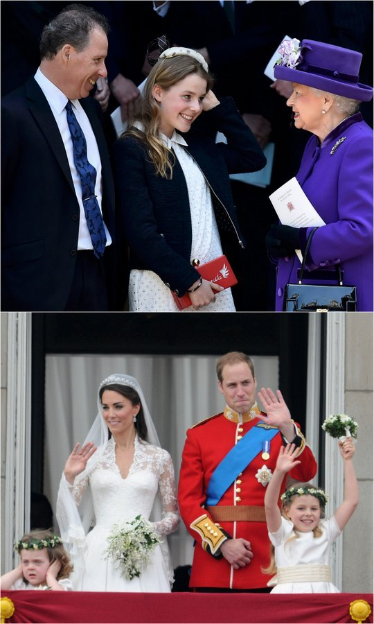 My how she has grown! One of Prince William and the Duchess of Cambridge's bridesmaids, Lady Margarita Armstrong-Jones, 14, greeted her great-aunt Queen Elizabeth with a kiss and a big smile as her dad David Armstrong-Jones, 2nd Earl of Snowdon looked on (top). The sweet family scene took place after a Service of Thanksgiving for the late Lord Snowdon at Westminster Abbey on April 7.