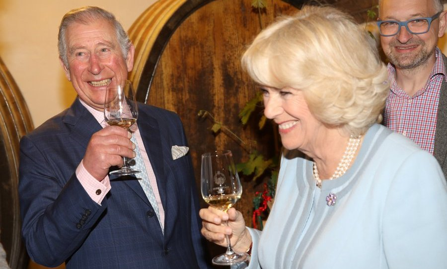 Cheers! Days before their 12th wedding anniversary, Prince Charles, Prince of Wales and Camilla, Duchess of Cornwall already looked to be in a celebratory spirit as they visited the Weinbau Buscheschank Obermann vineyard in Vienna, Austria on April 6. 
