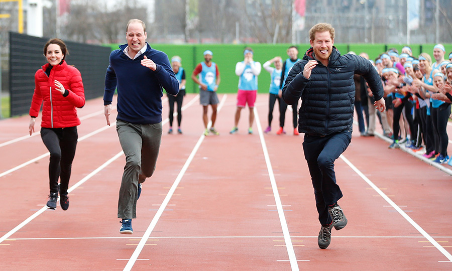 Catherine, Duchess of Cambridge was left in the dust as William and Harry went head to head during a Marathon Training Day with Team Heads Together at the Queen Elizabeth Olympic Park on February 5, 2017 in London.