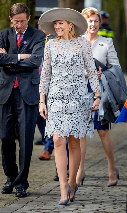 April 7: Queen Maxima of the Netherlands was lovely – and leggy! – in lace as she opened a Chinese porcelain exhibition at the Prinsenhof Museum in Delft.