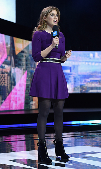 April 6: We want Princess Beatrice's boots! The British royal wore velvet footwear and a purple minidress on stage at WE Day New York Welcome, to celebrate young people changing the world, at Radio City Music Hall.