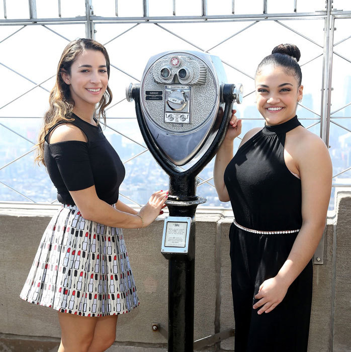 April 11: Aly Raisman and Laurie Hernandez visited the Empire State Building with the 2017 AAU James E. Sullivan Award Finalists in NYC. 