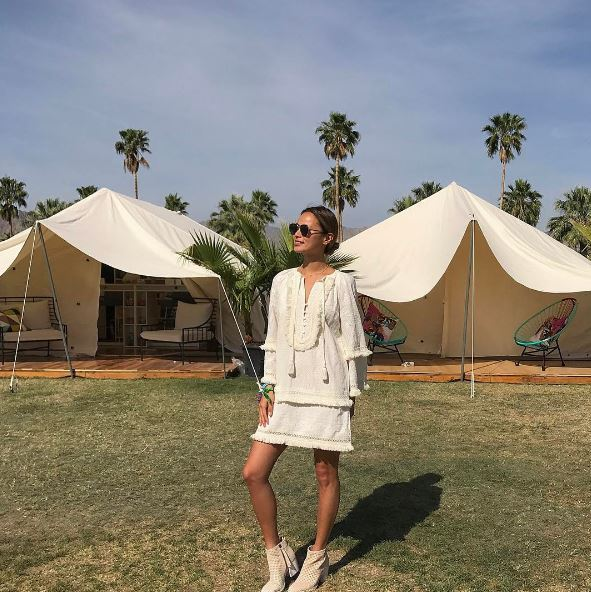 April 16: All good things must come to an end. Jamie Chung posed in front of her Coachella accommodations, which was glamping at its finest in a Marriott AC Hotels tent on the festival grounds.
