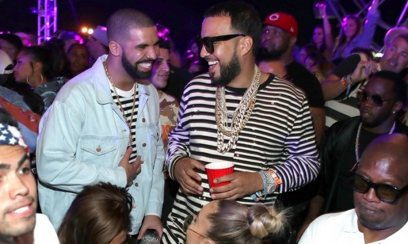 April 15:  Drake and French Montana toasted the night with a bottle of 1942 Tequila Don Julio at a packed table in the middle of the dance floor at The Levi's Brand Presents Neon Carnival.
