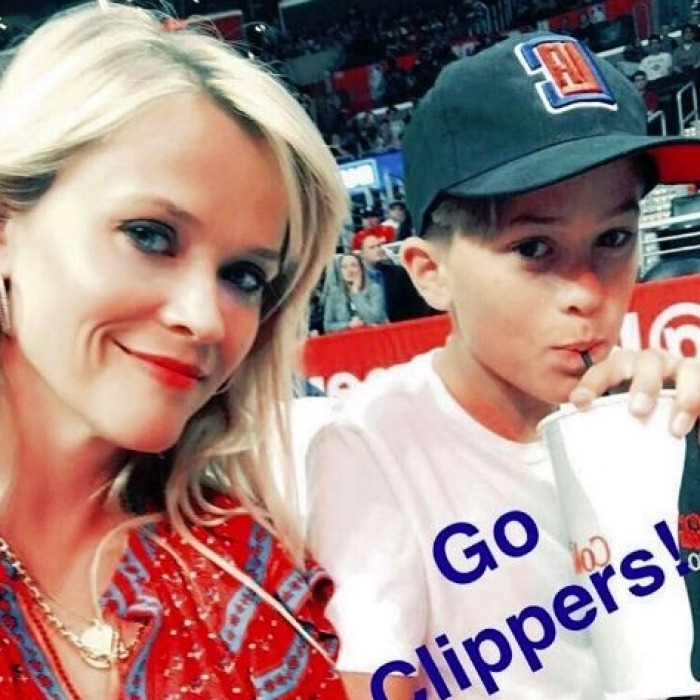 April 13: Reese Witherspoon took her oldest son Deacon to a Los Angeles Clippers game ahead of Easter weekend.