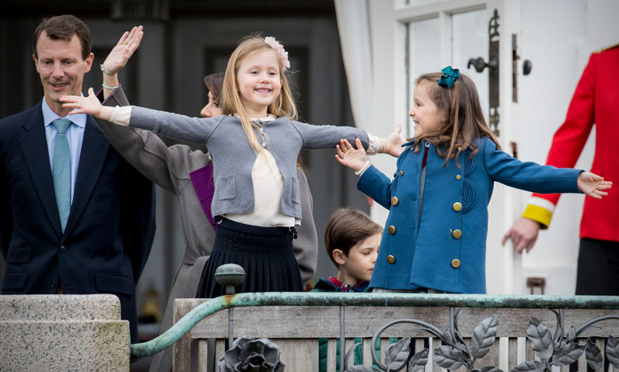 It may have been their grandmother's birthday, but Princess Josephine and Princess Athena stole the show with their animated moves and cousin-banter. The six and five-year-olds were inseparable on the balcony as they greeted the crowd below.
