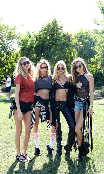 April 15: Martha Hunt, Stella Maxwell, Elsa Hosk and Josephine Skriver spread their wings at the Victoria's Secret Angel Oasis in Indio, California. 
