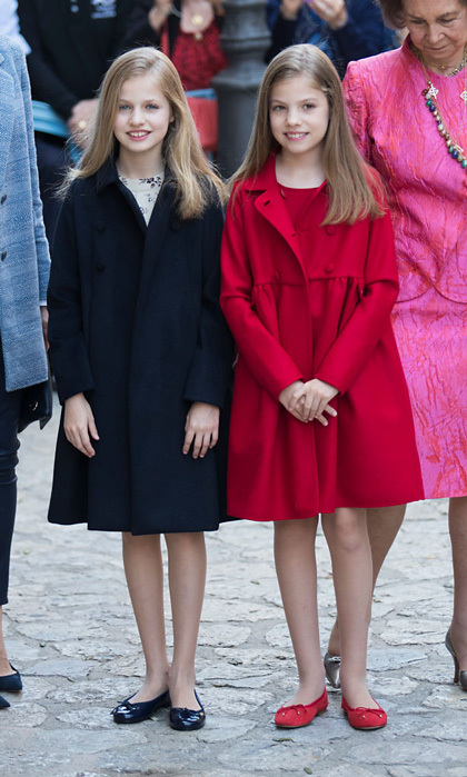 It seemed like a bit chillier of an Easter for Leonor and Sofia as they rewore their coordinating Carolina Herrera coats to Easter mass in Palma de Mallorca.