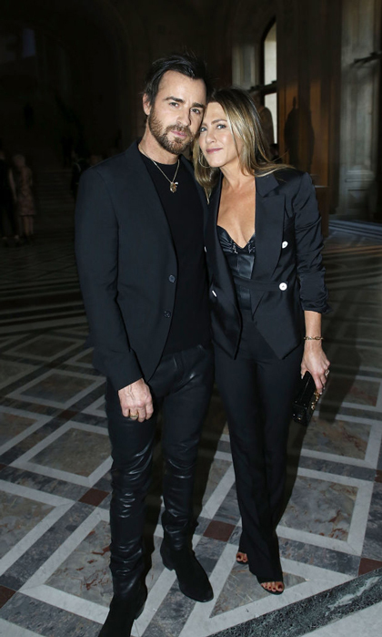 Jen nuzzled up to her husband during the Louis Vuitton and Jeff Koons Collaboration celebration at Musee du Louvre in Paris in April 2017. The couple coordinated in their black ensembles and good looks.