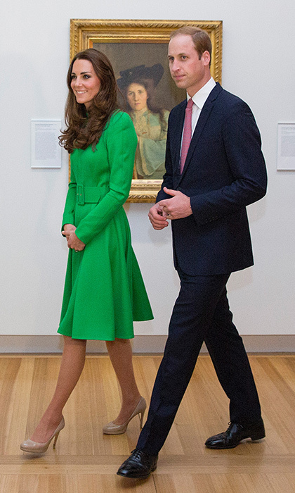 It's easy wearing green! At least that's what Duchess Kate demontrated in this chic coatdress worn at the National Portrait Gallery on April 24, 2014 in Canberra, Australia. Also pictured is husband Prince William. 