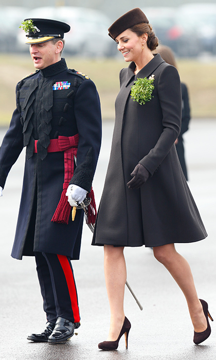 A pregnant Kate Middleton in Catherine Walker on St Patrick's Day 2015 at Mons Barrack in Aldershot, England.