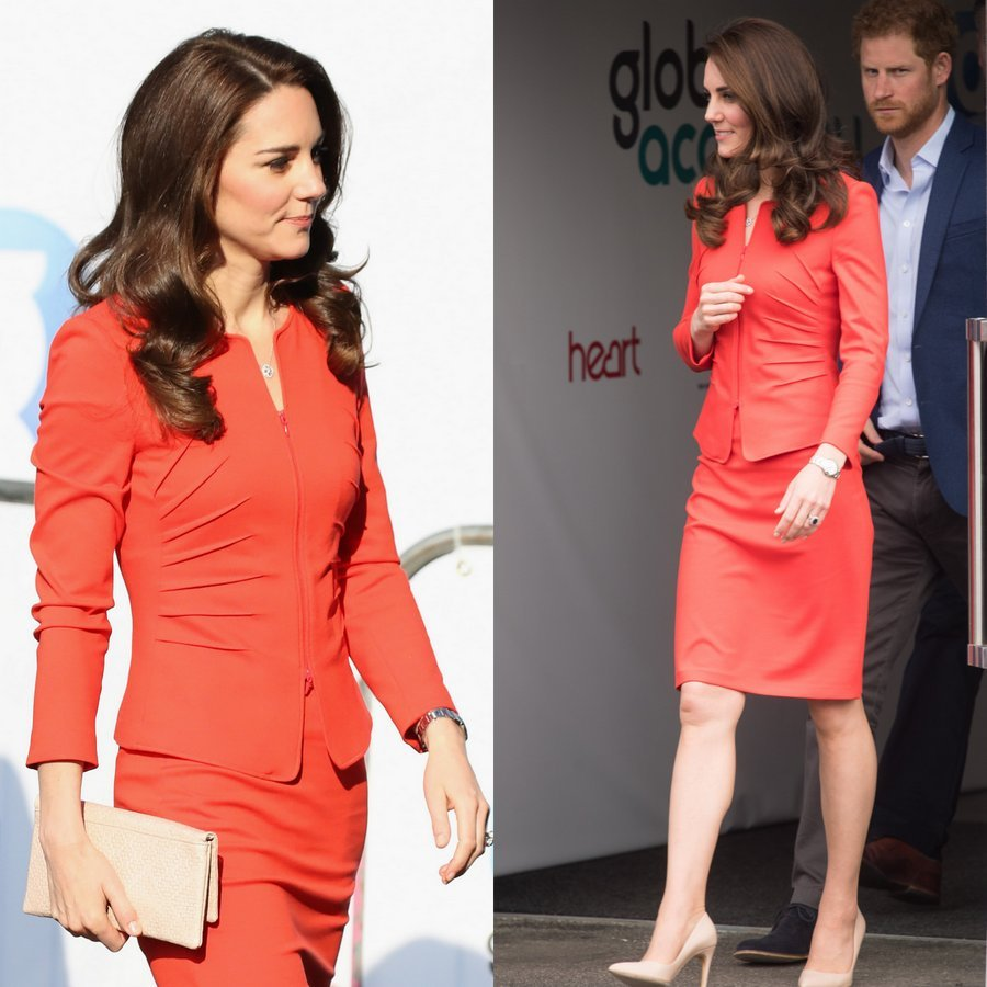 Kate was radiant in red as she joined husband Prince William and her brother-in-law Prince Harry for an engagement in London on April 20, 2017. The Duchess of Cambridge wore a new Giorgio Armani suit for the outing, where the royal trio opened the Global Academy.