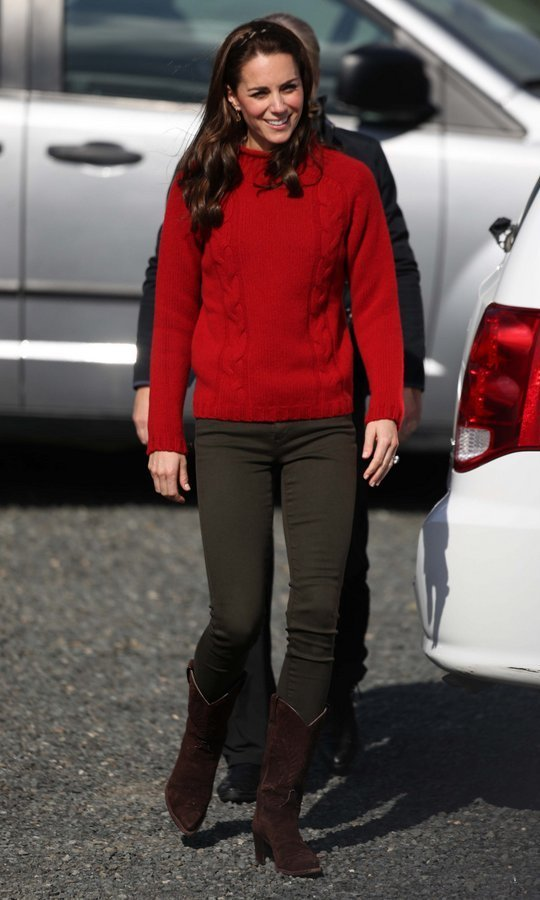 The Duchess of Cambridge sported a cable knit red sweater by the brand Really Wild for her fishing trip in Haida Gwaii, Canada in October 2016.