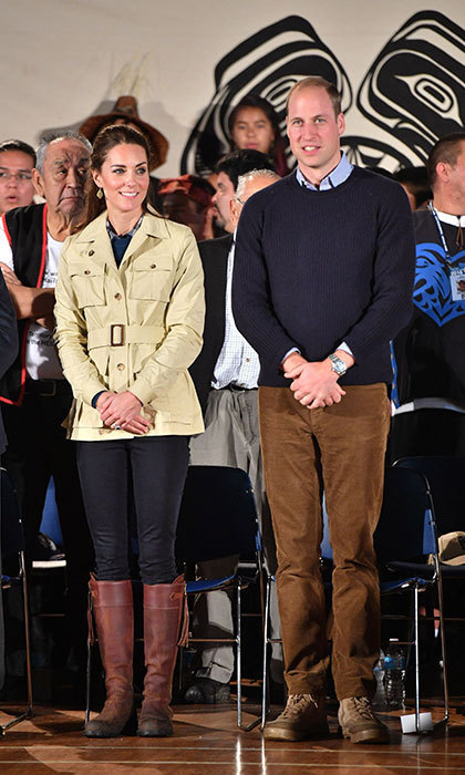 While in Canada in October 2016, Kate wore a jacket from Holland and Holland, which she paired with black Zara skinny jeans and a pair of brown knee-high boots. She finished off the look with a pair of earrings from Canadian-born designer Pippa Small.