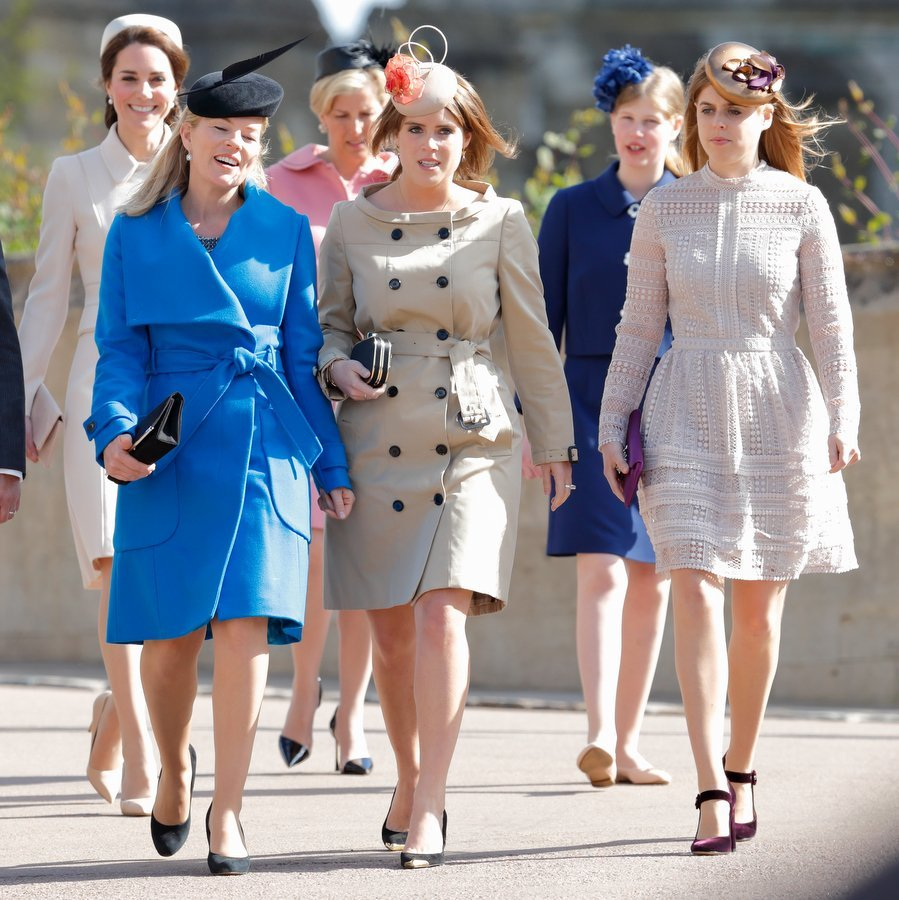 April 16: Autumn Phillips, Princess Eugenie and Princess Beatrice wore their Sunday best for an Easter service with the royal family at St George's Chapel.