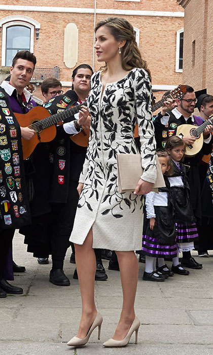 April 20: Queen Letizia of Spain attended the Miguel de Cervantes Awards in an embroidered Felipe Varela coatdress. Her slim clutch was a match for her heels by Spanish designer Magrit. 