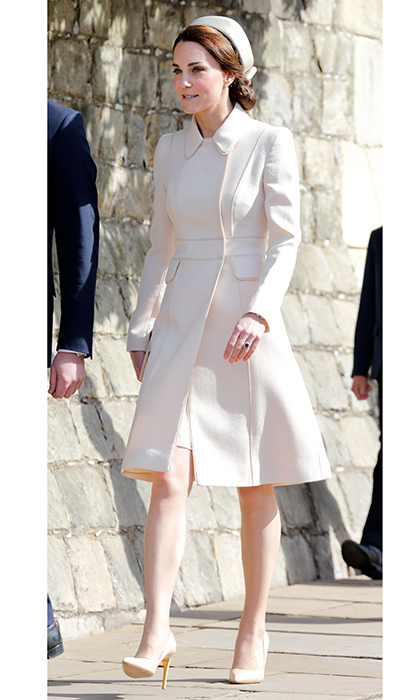 April 16: The Duchess of Cambridge appeared on Easter Sunday in this cream-colored Catherine Walker coat at St George's Chapel, Windsor Castle.
