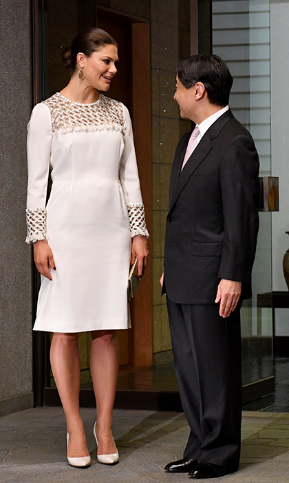 April 21: Crown Princess Victoria of Sweden wore a white dress with embellished neckline and sleeves as Japanese Crown Prince Naruhito welcomed her to Togu Palace in Tokyo.