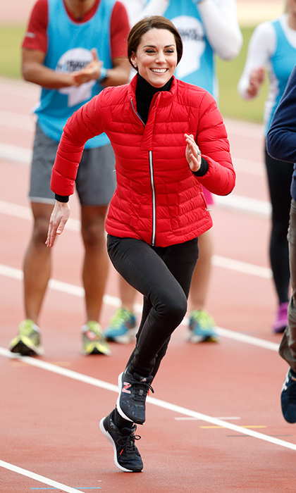In February 2017, the Duchess showed off her sporty side as she promoted Heads Together and the London Marathon in a quilted jacket by Perfect Moment and New Balance sneakers.